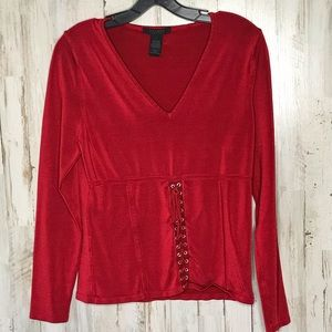 The Limited Red Stretch Long Sleeve Top Sz L